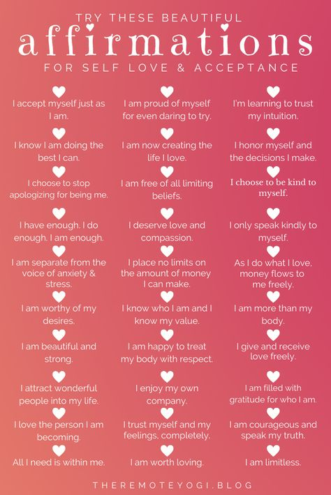 One of the best ways to focus on self love is to change the way you speak to yourself with these 50+ self love affirmations. #affirmations #mantras #selflove #selfacceptance