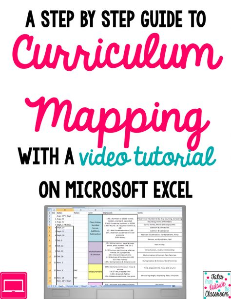 Curriculum Mapping With Excel A Video Tutorial Curriculum Mapping Teacher Planning Curriculum
