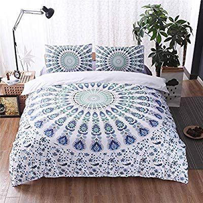 Amazon Com Argstar 3 Pcs Bohemian Duvet Cover King 3d Green White Blue Mandala Bedding Set Coloful Paisey Dow White Bed Set Comforter Cover Duvet Cover Sets