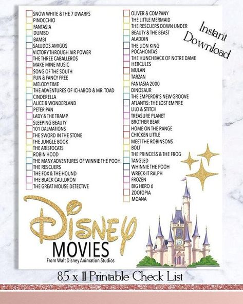 Disney Movie Checklist - Walt Disney Movie Watch List - INSTANT DOWNLOAD