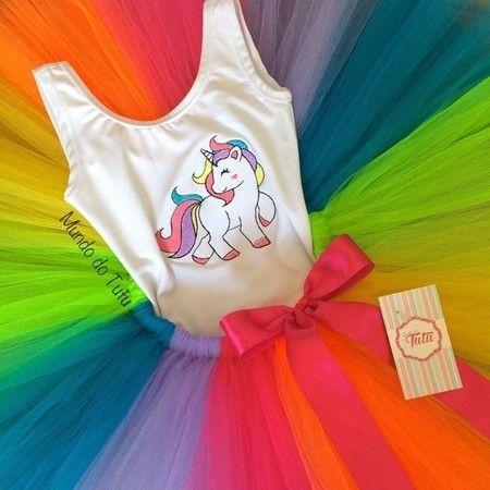 Conjunto Tutu Unicornio Simples Roupas De Unicornio Roupas Para Aniversario Fantasias Femininas