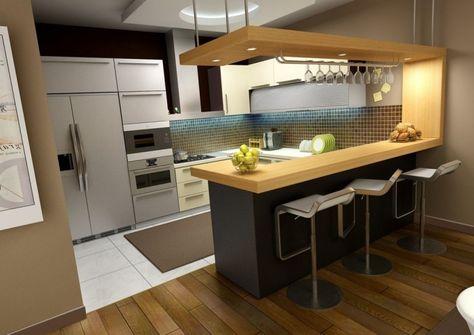 Küche U-Form Küchentresen Holz-Konstruktion Halogenleuchten - küchen in u form