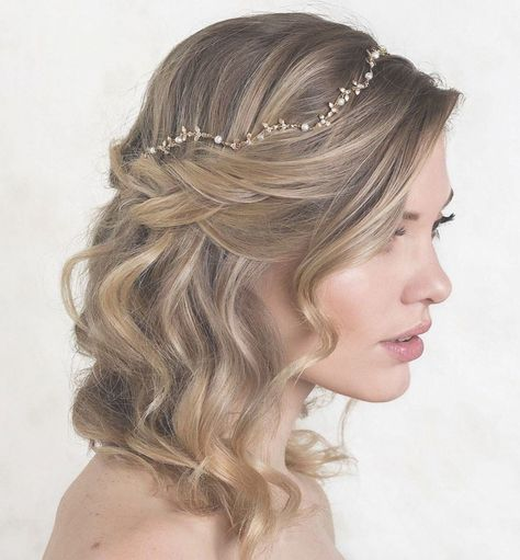 Gold bridal headpiece handcrafted with ivory freshwater pearls and 18K gold | bridal headpieces, hair accessories for wedding, wedding accessories, wedding updo, headpiece for wedding #updosweddinghair