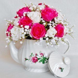 Teapot Silk Flower Arrangement Fuchsia Rosebuds White Rosebuds English Tea Store Floral Teapo Silk Flower Arrangements Floral Decor Silk Floral Arrangements