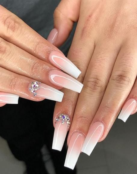 Best Nails Shellac Ombre Summer Ideas White Acrylic Nails Rhinestone Nails Trendy Nails