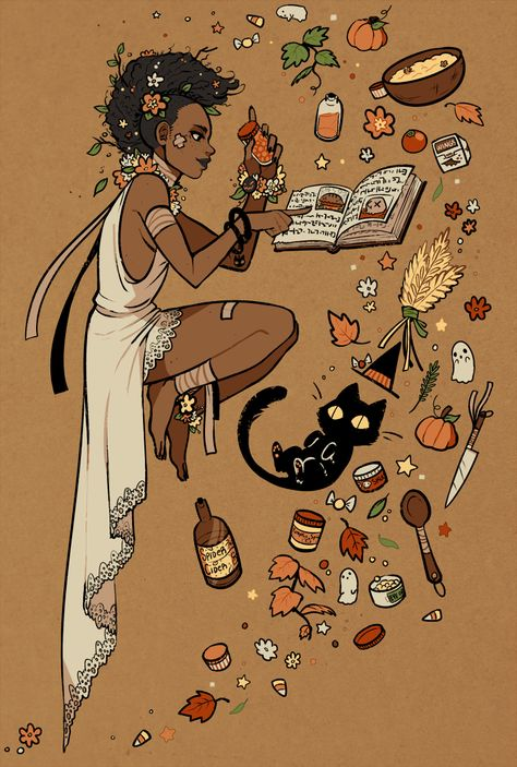 """kada-bura:"""" This started out with me just wanting to sketch a lace dress and then poof levitating witch making either the sickest pumpkin pie you've ever eaten or some poisonous concoction. Pretty Art, Cute Art, Illustrations, Illustration Art, Story Starter, Drawn Art, Arte Sketchbook, Modern Witch, Witch Art"""