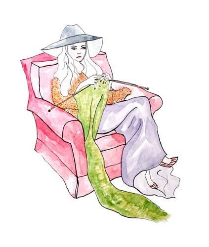 'Keep Calm and Knit On' Original Watercolor illustration by Kimberly Malachowski #illustration #Watercolor