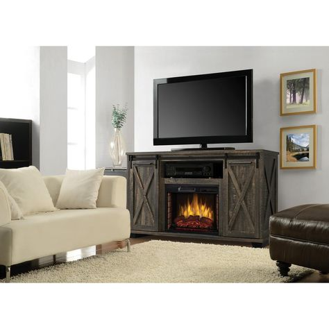 Muskoka Rivington 58 In Freestanding Infrared Electric Fireplace Tv Stand With Sliding Barn Door In Barnboard Gray 240 325 241 The Home Depot Fireplace Tv Stand Electric Fireplace Tv Stand Fireplace Tv