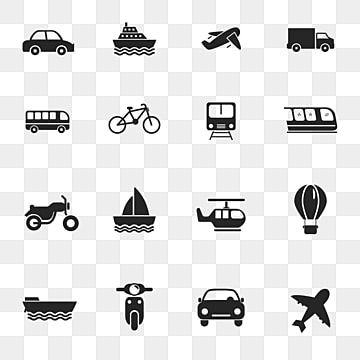 Set Of Transportation Icons In Simple Glyph Style Such As Car Boat Plane And More Transportation Car Travel Png And Vector With Transparent Background For Fr In 2021 Building Icon Home
