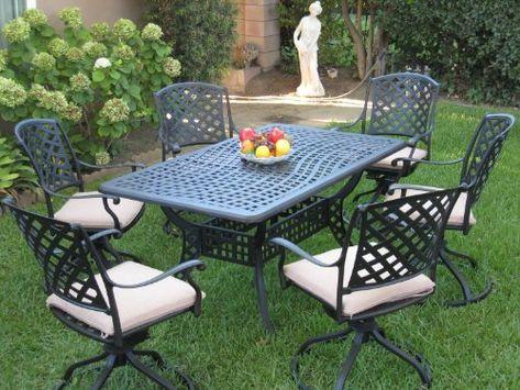 Cheap Outdoor Cast Aluminum Patio Furniture 7 Piece Dining Set