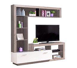 Meuble Tv Glen Blanc Et Imitation Bois Gris En 2020 Meuble Design Meuble Tv Bois Et Meuble