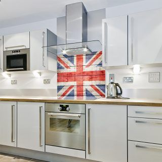 Printed Glass Kitchen Splashbacks  Union Jack Wood   Cube Print U0026 Display