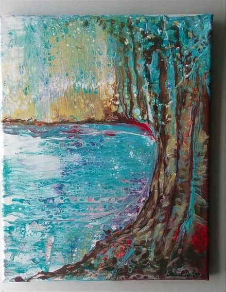 Lake Painting Embellished Acrylic Pour Trees And Water Art Fluid Art Landscape Art Waterside Lake Painting Acrylic Pouring Art Water Art