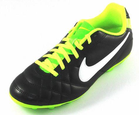 Nike Boys JR Tiempo Rio II FG-R Soccer Cleats Black//Volt 5.5