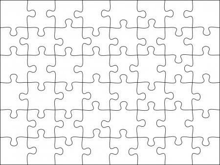 Modelo De Grade De Quebra Cabecas Quebra Cabeca 48 Pecas Jogo De Pensamento E 8x6 Quebra Cabecas Detalhe Quad Frame Design Vector Illustration Thinking Games