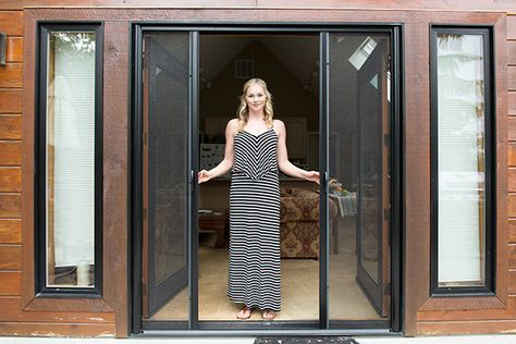 Enjoy The Beauty Of A Genius Retractable Screen Door The System Allows For Both Sides Of The Screen Door To Open Or A Locking Retractable Screen Door Two By Two Fashion