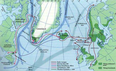Early Viking Voyages Viking History Vikings Map