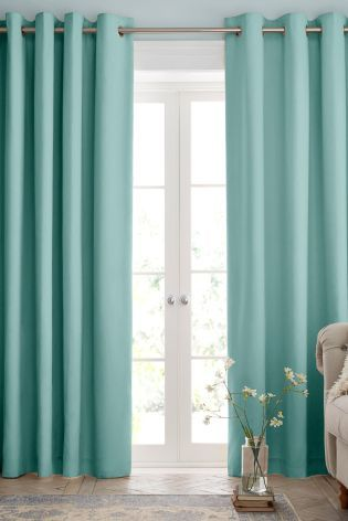 Perfect Add A Touch Of Freshness To Your Home With This Pair Of Teal Ready Made  Curtains, Featuring A Woven Texture Completed By An Eyelet Header To Createu2026