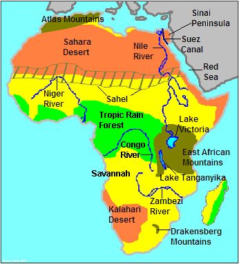 Africa Land Features Map Pin on Language