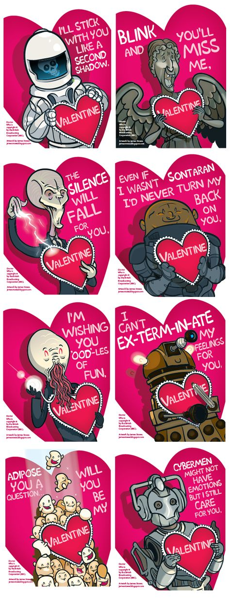 Doctor Who Valentine's Day Card - ChurchMag/// the last one reminded me of Danny :'(