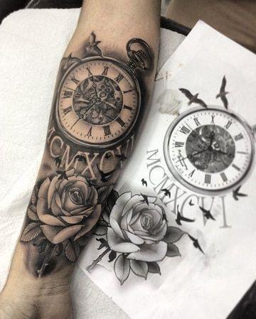 Disenos Originales De Tatuajes De Rosas Y Reloj Sammy Pinterest