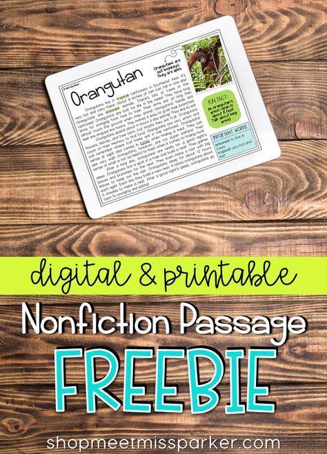 FREE Nonfiction Reading Comprehension Passage - Animals ...