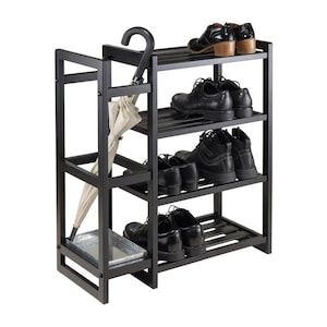 Winsome Wood 10 Pair Black Wood Shoe Cabinet At Lowes Com In 2020