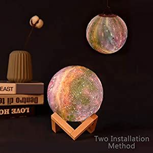 Moon Lamp Moon Night Light Decorative Galaxy Lamp Touch Remote Control 16 Colors Led 3d Star Lamp With Stand Birthday Valentines Day Romantic Gift For Girls In 2020 Led Color