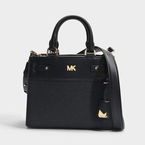 0aadc4571bb617 MICHAEL Michael Kors Mott Uptown Mini Messenger Bag in Black Small Pebble  Leather