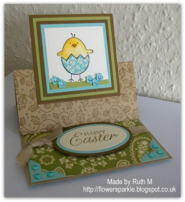 handmade Easter card ... easel card ... cute image of chick emerging from egg ... kraft base ... delightful!!