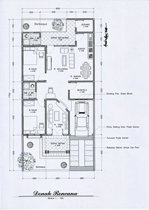 denah rumah ukuran 7x9 satu lantai - denah rumah
