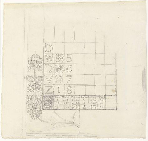 Gerrit Willem Dijsselhof | Ontwerp voor een kalender, Gerrit Willem Dijsselhof, 1876 - 1924 |