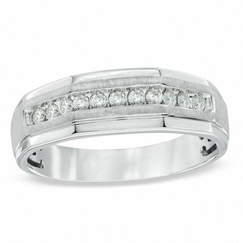 Men S 1 4 Ct T W Diamond Ring In 10k White Gold White Gold Diamond Wedding Bands White Gold Wedding Bands