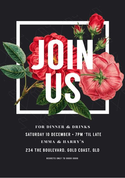 Floral Square Join Us Dinner And Drinks Invitation Template