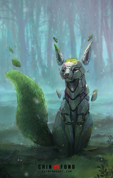 Sacred Stone Fox by Chin Fong Cute Fantasy Creatures, Mythical Creatures Art, Mythological Creatures, Magical Creatures, Alien Creatures, Monster Concept Art, Monster Art, Creature Concept Art, Creature Design