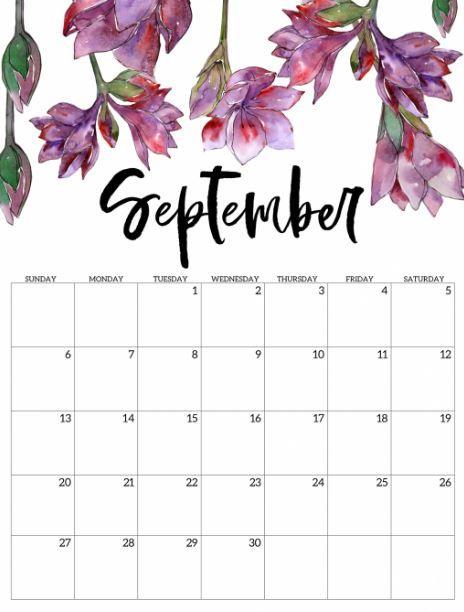 Calendrier Des Trails 2021 Calendrier floral de septembre 2020 in 2020 | Free printable