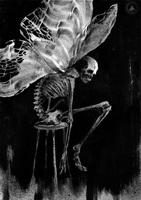"""""""The Fairy Eater // I Don't Want to Fly by Dmitry Khramtsov """" Aesthetic Grunge, Aesthetic Art, Aesthetic Pictures, Arte Horror, Horror Art, Arte Obscura, Skeleton Art, Skull Art, Surreal Art"""