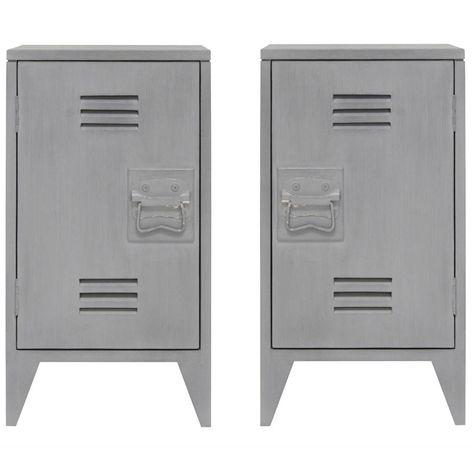 Nachtkastje Set Van 2.Nachtkastje Locker Set Van 2 Grijs Hout 65x36x33cm Interieur