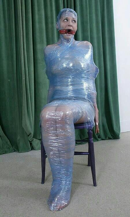 Bondage with plastic wrap