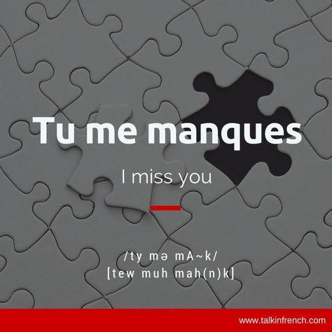 Tu Me Manques Verbes Français Vocabulaire Français Et