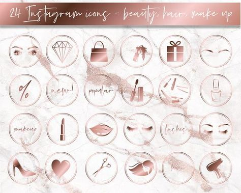 Instagram Story Highlight Icons Beauty Marble Makeup Rose Gold
