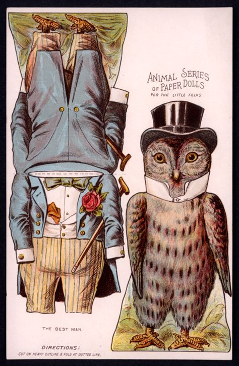 Owl – The Paper Collector: Animal Series of Paper Dolls, c. at thepapercol… – ✯ Vintage Paper Dolls ✯ – Home crafts Paper Puppets, Paper Toys, Paper Gifts, Paper People, Paper Animals, Vintage Paper Dolls, Antique Dolls, Paper Models, Collage Sheet