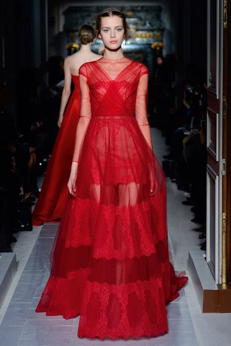 """""""Le cabinet des Vestales"""" dress in tulle and chantilly nasturtium.    http://www.valentino.com/en/collections/haute-couture/"""
