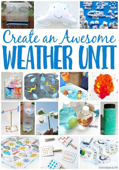 Create an awesome weather unit for your preschoolers with these super fun weather learning activities Science experiments math literacy sensory process art and Teaching Weather, Preschool Weather, Weather Crafts, Weather Science, Weather Unit, Weather And Climate, Weather Center, Weather For Kids, Weather Blog