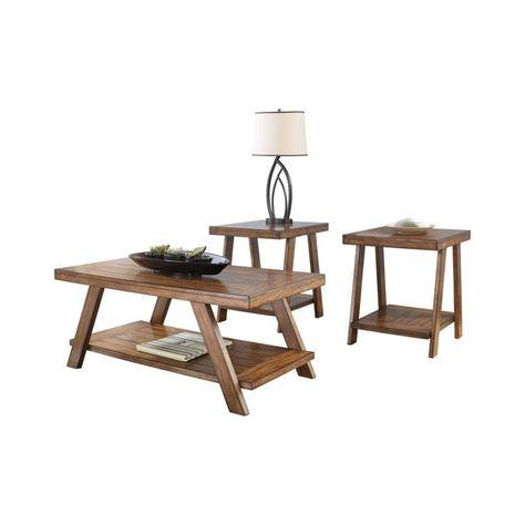 Holztisch Im Plankenstil Mit Bockboden Und Unterem Regal 3er Set Braun Benzara Benzara Bockboden In 2020 Engineered Wood Center Table Living Room Wooden Tables