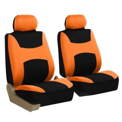 Fh Group Light And Breezy Fabric 21 In X 21 In X 2 In Full Set Seat Covers With Steering Wheel Cover And 4 Seat Belt Pads Dmfb030org115cm The Home Depot Seat