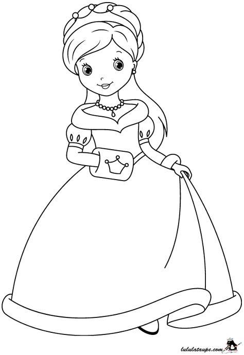 Dessin A Colorier Une Princesse Souriante Avec Une Jolie Robe