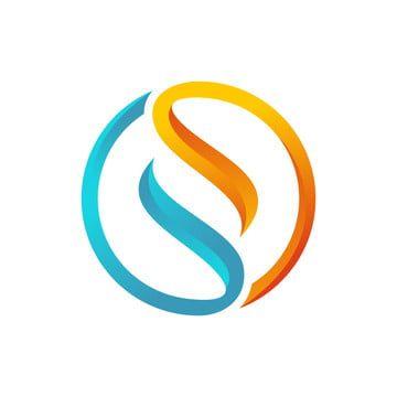 شعار دائرة الرسالة الأزرق والبرتقالي S Circle Logos S Logo Design Lettering Design