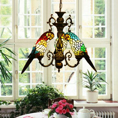 Tiffany style stained glass hand crafted  three parrots ceiling lamp chandelier US $169.47