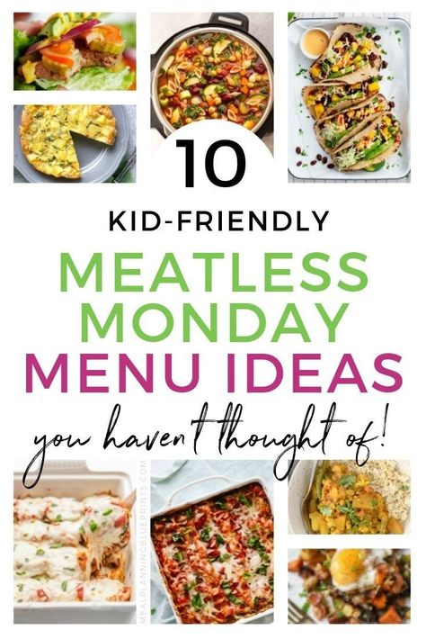 Meatless Monday rocks! If you're wanting to eat healthier, (and save money on groceries!) try adding these healthy Meatless Monday menu ideas into your weekly meal planning routine.These are 10 delicious choices of vegetarian dinners for kids that you can make any weeknight! #mealplanning #meatlessmonday #vegetariandinners